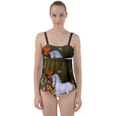 Cute Fairy With Unicorn Foal Twist Front Tankini Set by FantasyWorld7