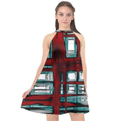 Abstract Color Background Form Halter Neckline Chiffon Dress  by HermanTelo