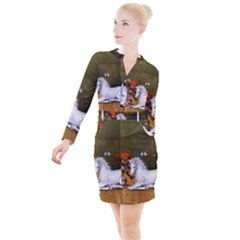Cute Fairy With Unicorn Foal Button Long Sleeve Dress by FantasyWorld7