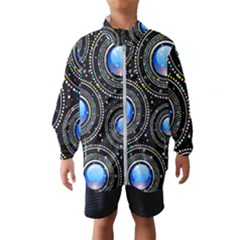 Abstract Glossy Blue Kids  Windbreaker by HermanTelo