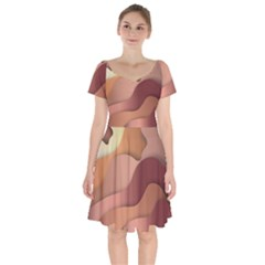 Autumn Copper Gradients Short Sleeve Bardot Dress