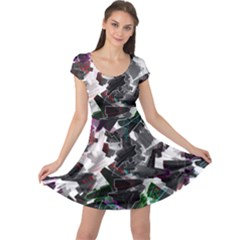 Abstract Science Fiction Cap Sleeve Dress