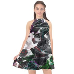 Abstract Science Fiction Halter Neckline Chiffon Dress  by HermanTelo