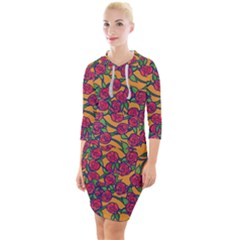 Roses  Quarter Sleeve Hood Bodycon Dress by BubbSnugg