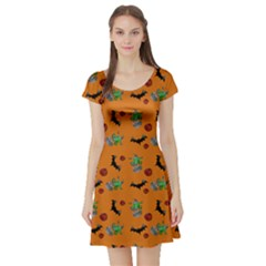 Halloween Witch Pattern Orange Short Sleeve Skater Dress by snowwhitegirl