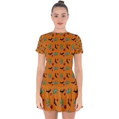 Halloween Witch Pattern Orange Drop Hem Mini Chiffon Dress by snowwhitegirl