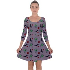 Halloween Witch Pattern Grey Quarter Sleeve Skater Dress by snowwhitegirl