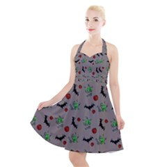 Halloween Witch Pattern Grey Halter Party Swing Dress  by snowwhitegirl