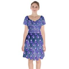 Kawaii Space Rocket Pattern Short Sleeve Bardot Dress by snowwhitegirl