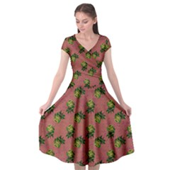 Pink Denim And Roses Cap Sleeve Wrap Front Dress by snowwhitegirl