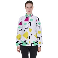 Abstract Squqre Chevron Women s High Neck Windbreaker by AnjaniArt