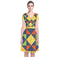 Background Geometric Color Plaid Short Sleeve Front Wrap Dress by Mariart