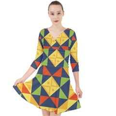 Background Geometric Color Plaid Quarter Sleeve Front Wrap Dress by Mariart