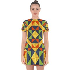 Background Geometric Color Plaid Drop Hem Mini Chiffon Dress