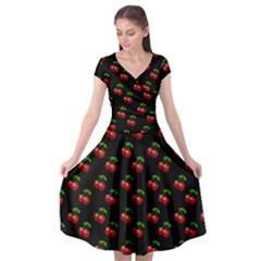 Retro Black Cherries Cap Sleeve Wrap Front Dress by snowwhitegirl