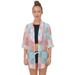 Background Pastel Open Front Chiffon Kimono by HermanTelo