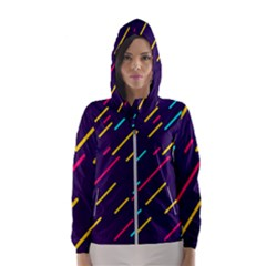 Background Lines Forms Women s Hooded Windbreaker
