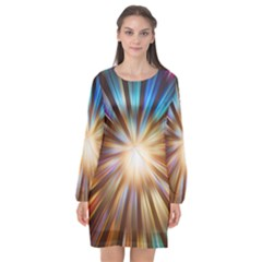 Background Spiral Abstract Long Sleeve Chiffon Shift Dress  by HermanTelo