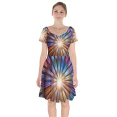 Background Spiral Abstract Short Sleeve Bardot Dress by HermanTelo