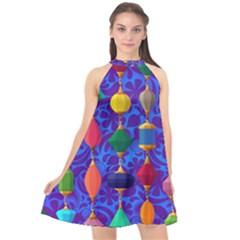 Background Stones Jewels Halter Neckline Chiffon Dress