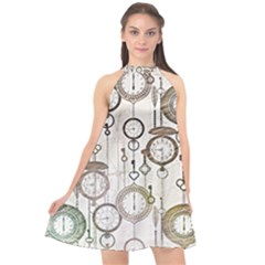 Background Watches Key Time Retro Halter Neckline Chiffon Dress