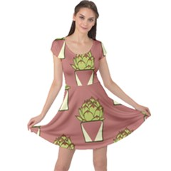 Cactus Pattern Background Texture Cap Sleeve Dress by HermanTelo