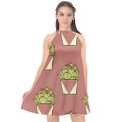 Cactus Pattern Background Texture Halter Neckline Chiffon Dress