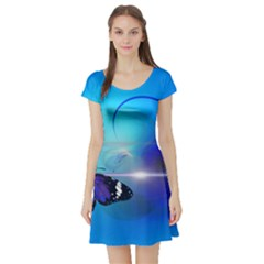 Butterfly Animal Insect Short Sleeve Skater Dress