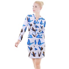 Butterfly Unique Background Button Long Sleeve Dress