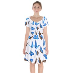 Butterfly Unique Background Short Sleeve Bardot Dress by HermanTelo