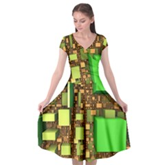 Blocks Cubes Green Cap Sleeve Wrap Front Dress