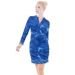 Blue Pattern Texture Art Button Long Sleeve Dress by HermanTelo