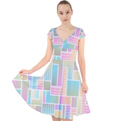 Color Blocks Abstract Background Cap Sleeve Front Wrap Midi Dress by HermanTelo