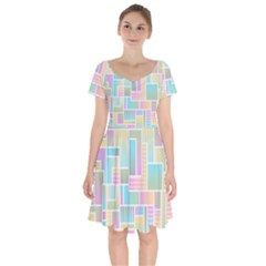 Color Blocks Abstract Background Short Sleeve Bardot Dress
