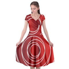 Circles Red Cap Sleeve Wrap Front Dress