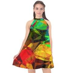 Color Abstract Polygon Halter Neckline Chiffon Dress  by HermanTelo