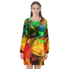 Color Abstract Polygon Long Sleeve Chiffon Shift Dress