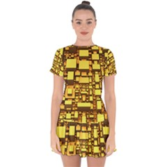 Cubes Grid Geometric 3d Square Drop Hem Mini Chiffon Dress