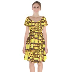 Cubes Grid Geometric 3d Square Short Sleeve Bardot Dress