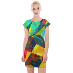 Color Abstract Polygon Background Cap Sleeve Bodycon Dress