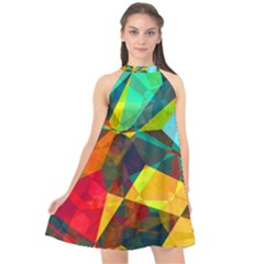Color Abstract Polygon Background Halter Neckline Chiffon Dress