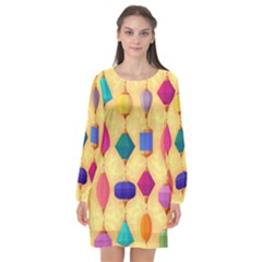 Colorful Background Stones Jewels Long Sleeve Chiffon Shift Dress