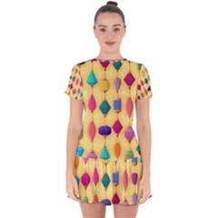 Colorful Background Stones Jewels Drop Hem Mini Chiffon Dress