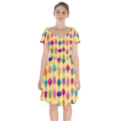 Colorful Background Stones Jewels Short Sleeve Bardot Dress by HermanTelo