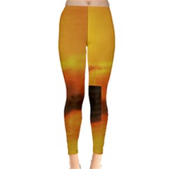 City Sun Clouds Smog Sky Yellow Leggings