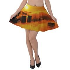 City Sun Clouds Smog Sky Yellow Velvet Skater Skirt
