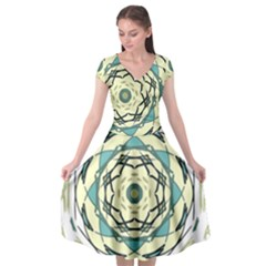 Circle Vector Background Abstract Cap Sleeve Wrap Front Dress