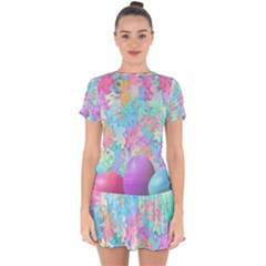 Eggs Happy Easter Rainbow Drop Hem Mini Chiffon Dress by HermanTelo