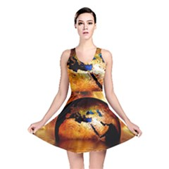 Earth Globe Water Fire Flame Reversible Skater Dress
