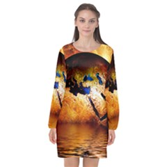 Earth Globe Water Fire Flame Long Sleeve Chiffon Shift Dress  by HermanTelo
